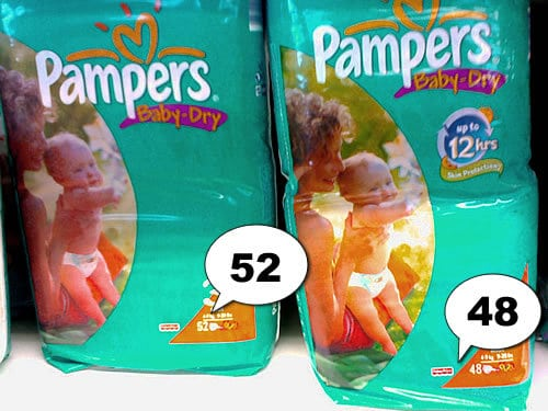 Pampers Baby Dry jetzt weniger drin