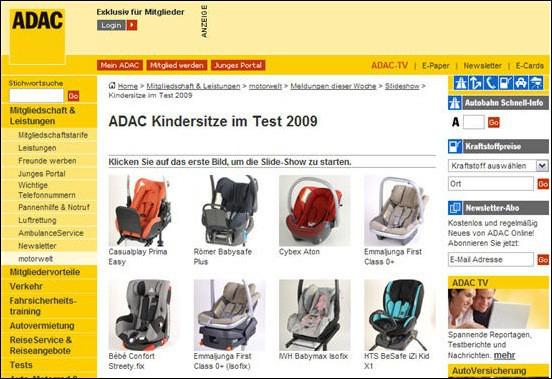 ADAC und Stiftung Warentest Kindersitze und Babyschalen 2009 im Test