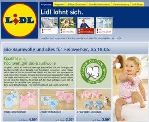 Babybekleidung aus Bio-Baumwolle billig bei Lidl
