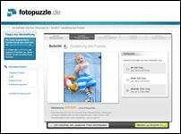 Screenshot Foto-Puzzle Erstellung auf der fotopuzzle.de Webseite