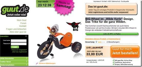 Big-Wheel Trike Dreirad Wilde Kerle guenstiger