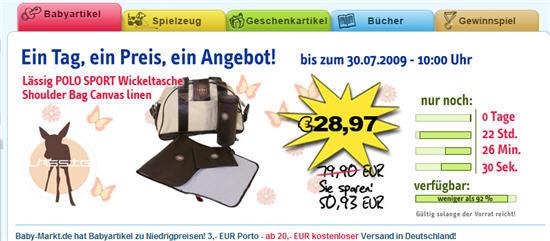 Schnäppchen: schöne Lässig-Wickeltasche günstig für 28,97 Euro