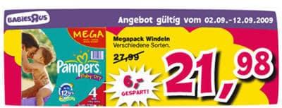Pampers Mega-Pack billiger bei Toys R Us im Angebot