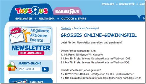 Toys R Us Gutschein und Ball Gewinnspiel