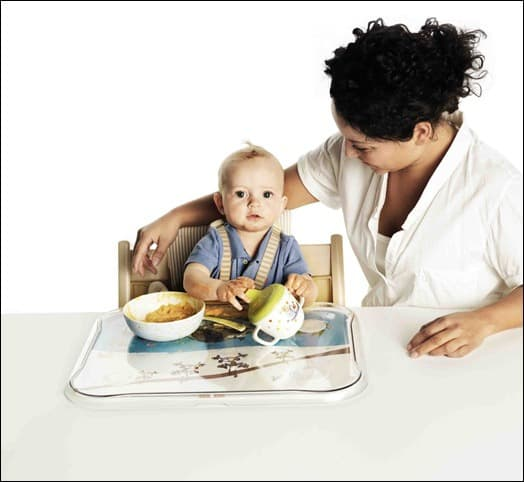 Mother and child at the table.