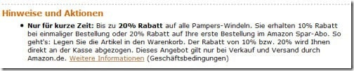 Amazon mit 20% Rabatt auf Pampers