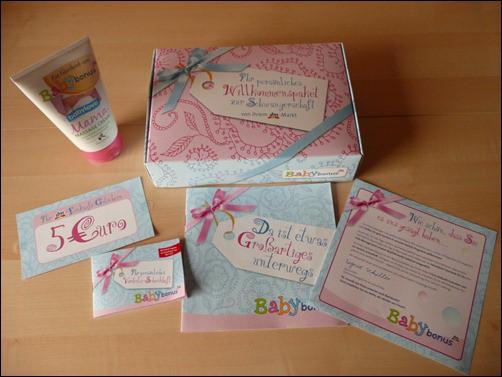 dm Babybonus Willkommenspaket für Schwangere mit Gratisproben und dm Gutscheinen