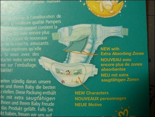 Extra saugfähige Zonen, Zettel in Pampers Baby Dry