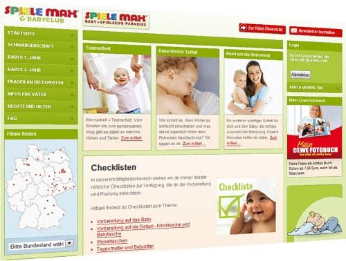 Spielemax-Babyclub-Webseite