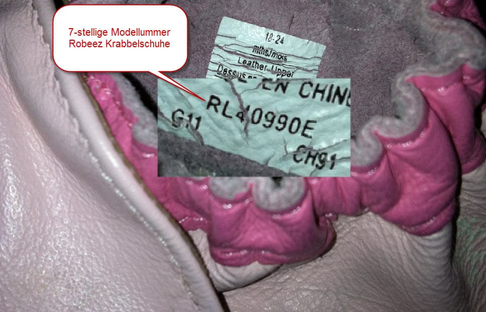 Robeez Etikett mit Modellnummer