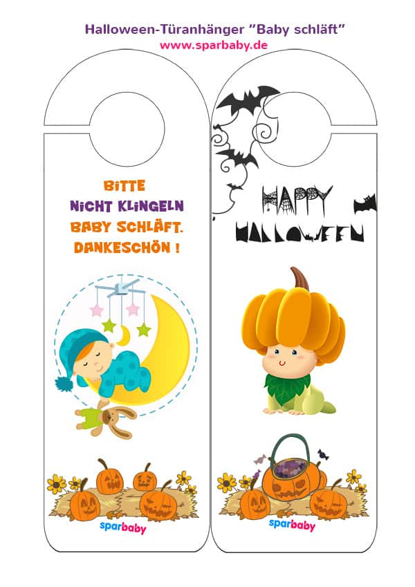 """Zum downloaden und ausdrucken: Halloween Türanhänger """"Baby schläft""""."""