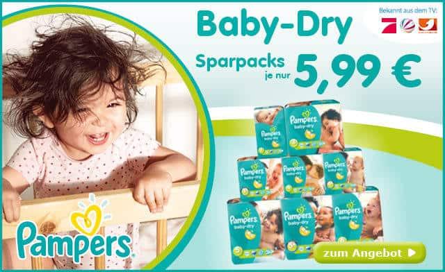 Pampers Baby Dry - alle Größen heute günstig für 5,99€ im Einzelpack