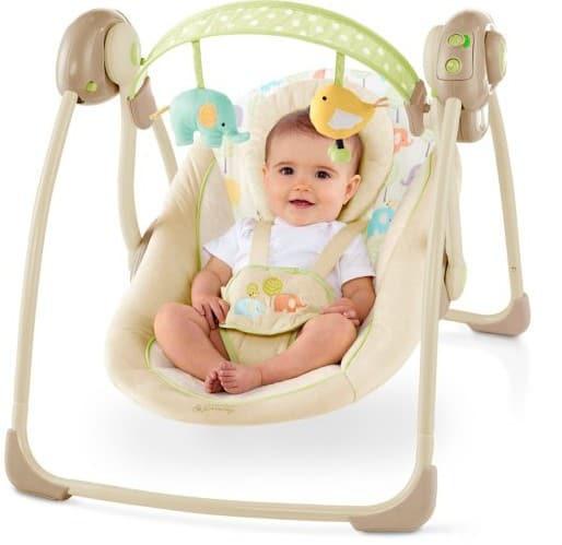 Babyschaukel Elepaloo von Bright Starts mit Baby drin