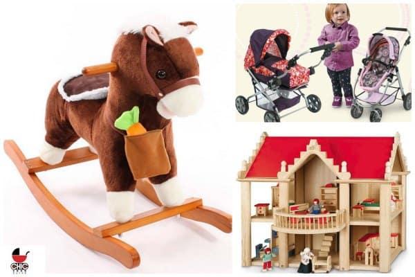 Schaukelpferd, Puppenhaus und Puppenwagen