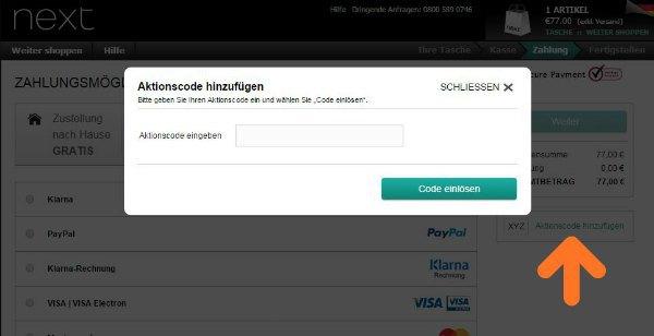 Screenshot Einfügen von Gutscheincodes im Next-Shop