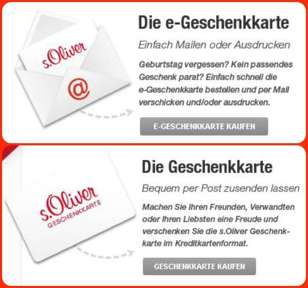 s.Oliver Geschenkkarten