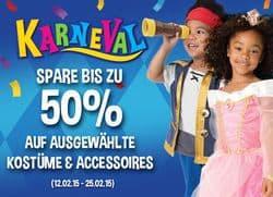 Karneval-Kostüme 50% Rabatt-Aktion