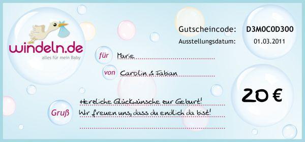 Geschenkgutschein 20€ Windeln.de