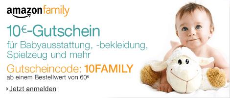 10 EUR Aktionsgutschein für Babyausstattung, -bekleidung, Spielzeug und mehr: Nur für Neumitglieder von Amazon Family