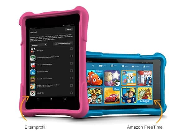 Das Kindle Fire HD Kids Edition von Amazon gibt es in Pink oder Blau