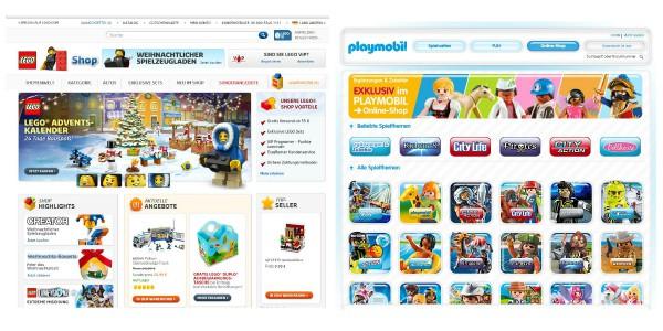 Lego und Playmobil Onlineshops