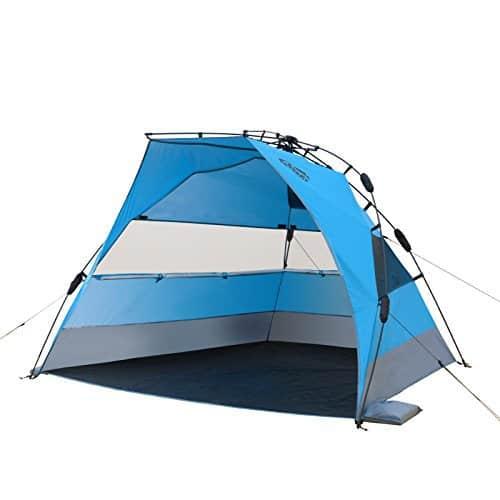 Qeedo Quick Bay Xl Strand-Zelt mit UV-Schutz (UV80 nach UV-Standard 801) Pop-UP-Strandmuschel - blau