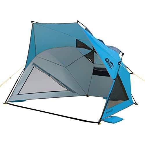 Qeedo Quick Shell Strandmuschel und Sonnenschirm Strandzelt mit UV-Schutz - blau