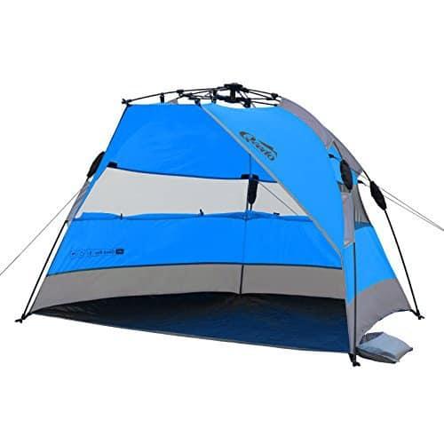 Strandmuschel Qeedo Quick Bay, Strandzelt mit UV-Schutz, Sonnenschutz und 360° Panorama View - blau