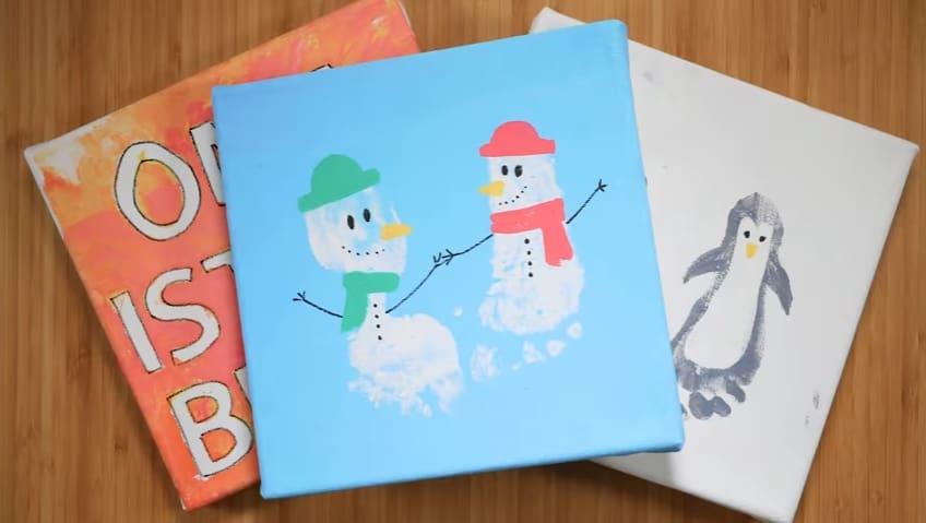 Weihnachtsgeschenke Basteln.Last Minute Diy Weihnachtsgeschenke Basteln Fußabdruckbilder