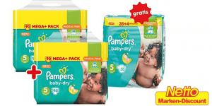 Pampers-Schnäppchen: günstige Mega-Packs + gratis Sparpack + 10% Gutschein