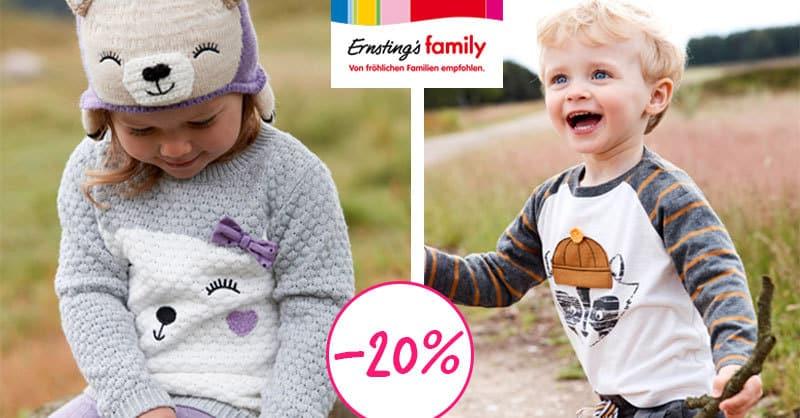 Ernsting's family: heute 20% auf alle Kindersachen!