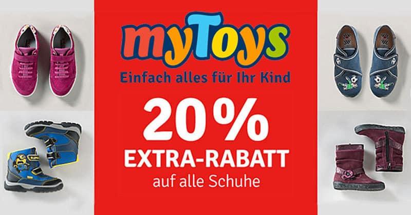 myToys: 20% Extra-Rabatt auf alle Schuhe - auch bereits reduzierte!