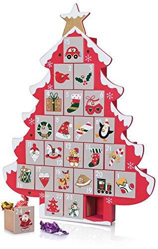 Adventskalender mit 24 Schubladen Tannenbaum bunt aus Holz