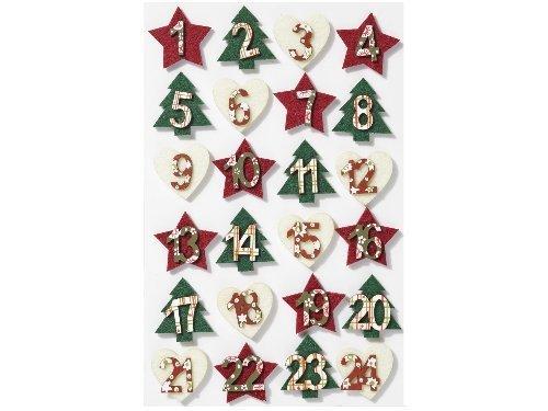 Mini-Holzzahlen-Set 1-24 sort. ca. 30 mm, Filz, rot-grün-creme, Advent, Adventskalender