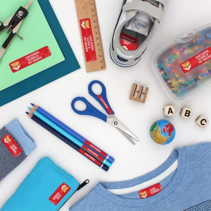 personalisierte Namensaufkleber für Kleidung und Schulsachen