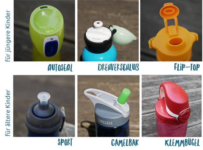 Große Unterschiede: Verschlüsse bei Trinkflaschen für Kinder im Test